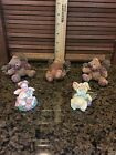Teddy bear Angel Figurines Lot With A Piggy Angel And A Little Boy Angel