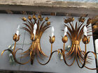 VTG PAIR ITALIAN GOLD GILT TOLE TULIP FLOWER SCONCE WALL LAMPS - HOLLYWOOD