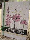 Handmade Stampin Up BIRTHDAY CARD KIT 4 cards 4 envelopes included flowers bow