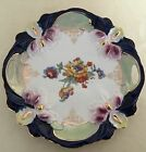 Antique Eleanor Germany Porcelain Handled Plate Hand Painted Flowers Iridescent