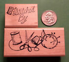 Sewing Border Stitched By Wood Mounted Rubber Stamp Set of 2
