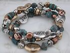 Silver Gold Copper Green Bead Stretch Bracelet Set Positive Words Jewelry NEW