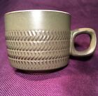 VINTAGE DENBY CAMELOT MUG FLAT COFFEE CUP Embossed Chevrons Green 2 5/8