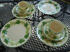 Vintage Franciscan Green Ivy Dinner Plates USA 4 PLATES, 2 CUPS 2 SAUCERS