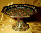 VINTAGE CROWN DUCAL BLACK CHINTZ DELHI PEDESTAL DISH RED FLOWERS MADE IN ENGLAND