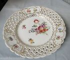 Dresden German Porcelain pierced plate crossed sword