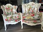 Vintage French Figural Hollywood Regency Wing Back Arm Chairs