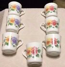 CORELLE CORNING WARE SUMMER BLUSH PANSY COFFEE CUPS SET OF 7