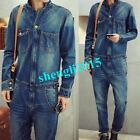 Vintage Classic Denim Mens Dungarees Overalls One Piece Jumpsuits Trousers Jeans