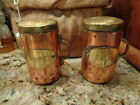 VINTAGE COPPER AND BRASS SALT AND PEPPER SHAKERS MADE IN ITALY SALE AND PEPE