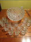 Button Pressed Glass Punch Bowl + 18 cups + ladle //perfect//