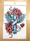 "*US SELLER*Stik angel wing rose crose8.25""x5.75""large body arm temporary tattoos"