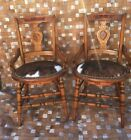 ANTIQUE VICTORIAN BIRDSEYE MAPLE BURLED WOOD ARM CHAIRS COWHIDE LEATHER REFURBIS