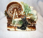 VTG MCCOY Spinning Wheel Planter with Black Scottie Dog And Cat RARE BLACK DOG