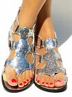 Womens Gladiator Sequins Sandal Thong Flip Flops Strappy Flats Back Zip Glitter