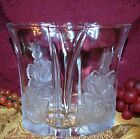 Home Beautiful of Japan Rose Pearls Pattern Crystal W/ Frosted Roses Oval Vase