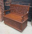 Vintage/Antique  Ornately Carved Solid Oak Storage Bench - Hall Seat -
