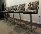 Set of 6 Matching Mid Century Modern Zebra Print Swivel Bar Stools