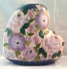 Lesal Ceramics Pottery Pink Floral Heart Shaped Vase Hand Painted Flowers