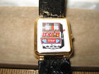 VTGLadies Slot Machine Watch w glitter Black Leather Band Gold Toned Watch