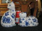Matching Pair Ceramic Cats, Crackled Gray w/ Colbalt Blue Flowers ! Sits
