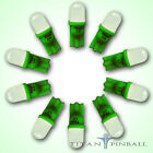 10 Pack 63 Volt LED Bulb Frosted 555 Wedge Base T10 Pinball GREEN