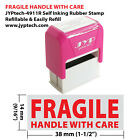 Fragile Handle With Care JYP PA1040 Pre Inked Rubber Stamp Red Ink