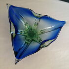 Vintage Murano Sommerso Freeform Art Glass Sculpture Dish Red Blue Green Bowl