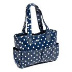 Hobby Gift MRB/32 White Polka Dot on Navy PVC Craft/Sewing Bag 12.5x39x35cm