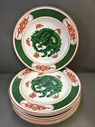 SET OF 6 FITZ AND FLOYD GREEN DRAGON CREST 7 1/2