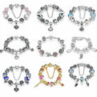 European 925 Silver Bracelets with Heart Charms  Glass Bead for Women Girls DIY