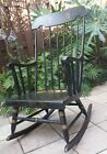 VINTAGE WINDSOR ROCKER SOLID WOOD BLACK ROCKING CHAIR