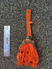 Vintage 1920s orange beaded bag with partial metal frame and clasp