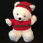 VINTAGE 1987CHRISTMAS UGLY SWEATER PLUSH STUFFED TEDDY BEAR IN RED WHITE