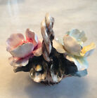 Free Shipping! Vintage Capodimonte Style Flowers Basket Porcelain Collectible