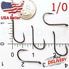 100x Size 1 0 Offset Octopus Fishing Hooks black hook Chemically Sharpened USA