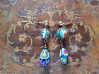 Italian Millefiori drops beads EARRINGS 14K gold filled Murano VINTAGE GIFT
