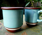 NEW NWT~2 Coffee Mugs~Dansk Stacking Stripe~TEAL+Chocolate Brown~Retired~RARE