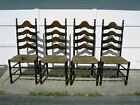 4 Antique Vintage High Back Ladder Back Chairs With Rush Seats