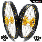 SUZUKI MX WHEELS RIMS SETS RM125/250  GOLD NIPPLE SILVER SPOKE 21/19 US01