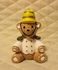 Vtg Christmas Ornament Porcelain Sitting Soldier Bear by Roman Japan
