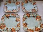 222 Fifth Gabrielle Spring Blue Square Dinner Plates 4 Four NEW