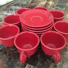 Fiesta Ware Scarlet Red Coffee Cup Saucer Lot 16 Pcs 8 Cups 8 Saucers EUC