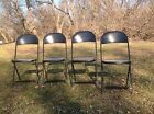 4 VINTAGE METAL Mid Century HAMPDEN FOLDING High Back Card Table CHAIRS BLACK