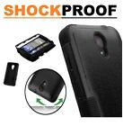 For ZTE Phone Hybrid Rugged Shockproof Hard Rubber Protective Case Cover BLACK
