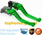 For Kawasaki ZX6R ZX636 2007-2018 Short Clutch Brake Levers CNC Green US 14 15