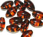 Tortoise Oval Czech Pressed Glass Beads 16x9mm pack of 12
