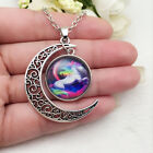 New horse Glass Hollow Moon Shaped Pendant Silver Tone Necklacece