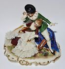 VOLKSTEDT German Lace Antique Porcelain Miniature Statue Courting Couple