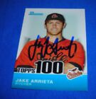 2010 bowman topps 100 Cy Young winner Jake Arrieta signed autograph card